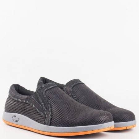 Мъжки комфортни обувки без връзки в комбинация от висококачествена естествена и еко кожа на Mat star в черен цвят 16059099ch