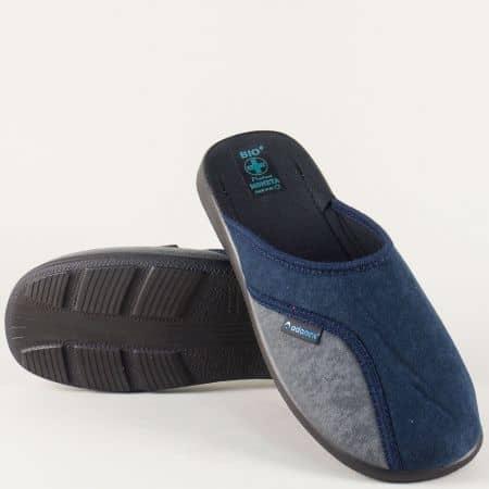 Мъжки пантофи в син и сив цвят 16079s