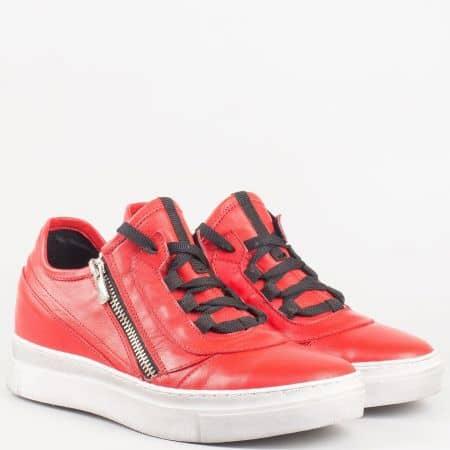 Фешън дамски обувки с връзки и цип от червена естествена кожа- български производител  1608chv