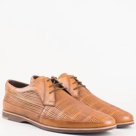 Мъжки комфортни обувки за всеки ден изработени от 100% естествена кожа в светло кафяв цвят 16094k