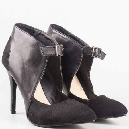 Елегантни черни дамски обувки с коланче и катарама 161050vch