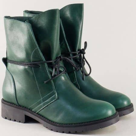 Зелени дамски боти от естествена кожа на нисък ток 16109z