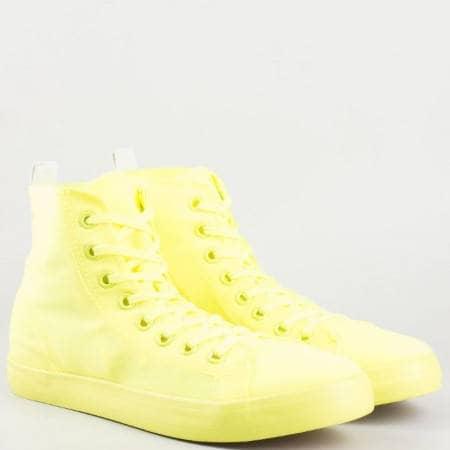 Дамски цветни кецове на удобно ходило с връзки в жълт цвят 1610z