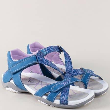 Сини юношески сандали от естествен набук с две лепки 16194s