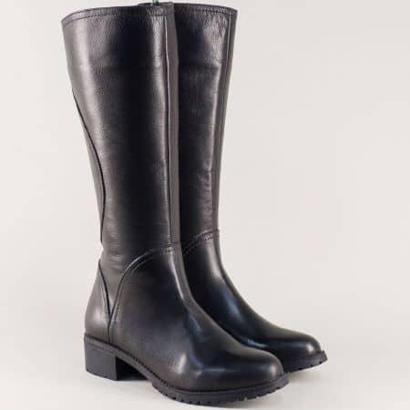 Черни дамски ботуши от естествена кожа на нисък ток 16240ch