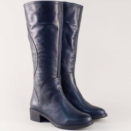 Сини дамски ботуши от естествена кожа на нисък удобен ток 16240s