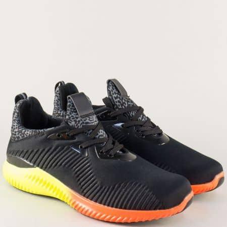 Мъжки спортни обувки в черно с връзки и ярко ходило 163061ch