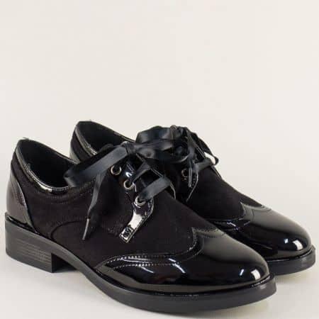 Черни дамски обувки на комфортен нисък ток 16319vch