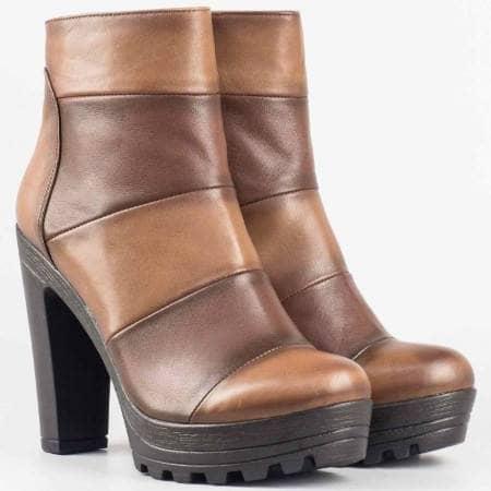 Дамски качествени боти от висококачествена естествена кожа в кафяв цвят 16356k