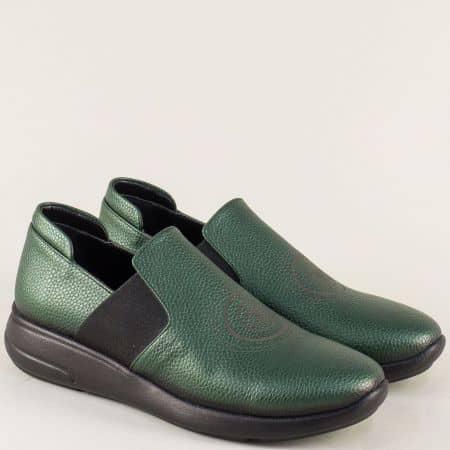Зелени дамски обувки от естествена кожа на равно ходило 1641198iz
