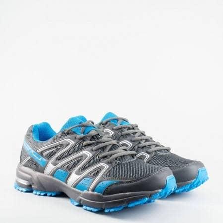 Ефектни мъжки маратонки, в атрактивна цветова комбинация от сив и син цвят  1666-49s