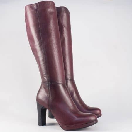 Дамски кожени ботуши в цвят бордо на висок ток- бъгарски производител 16800bd