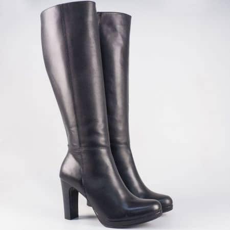 Български дамски ботуши на висок ток и платформа от черна естествена кожа 16800ch
