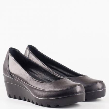 Черни дамски обувки на платформа с изчистен дизайн 16915431ch