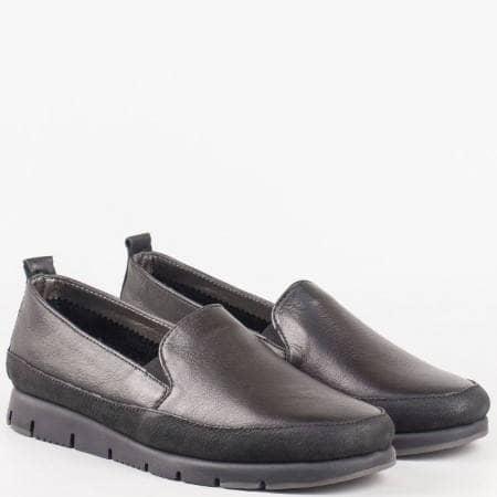 Ежедневни дамски обувки с два ластика от черна естествена кожа от португалският производител Aerosoles 170316ch