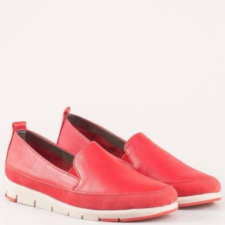 Актуални дамски обувки от червена естествена кожа с два ластика- Aerosoles и кожена стелка с вградена Flex- Comfort система  170316chv