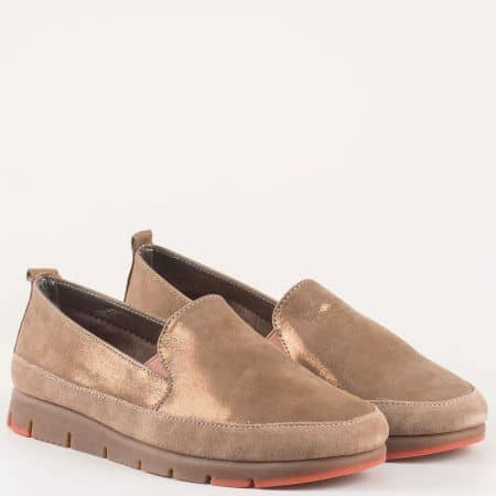 Дамски ежедневни обувки с два ластика в кафяв цвят-  Aerosoles с кожена стелка и вградена Flex- Comfort система от естествена кожа и велур изцяло  170316k