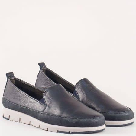 Тъмно сини дамски обувки с два ластика от естествена кожа изцяло- Aerosoles  170316s
