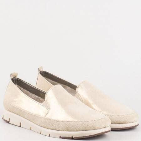Португалски дамски обувки с два ластика от естествена кожа в зластисто- Aerosoles  170316zl