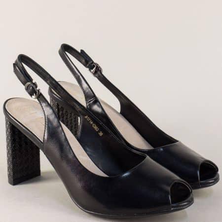 Черни дамски обувки със стилна визия на висок ток 1714ch