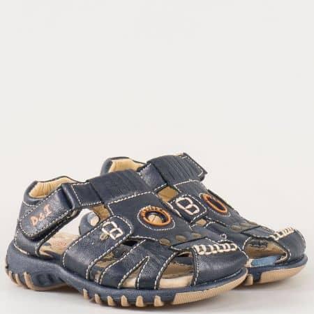 Детски сандали на комфортно ортопедично ходило изработени от изцяло естествена кожа на български производител в черен цвят 17191s