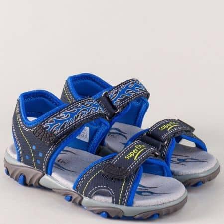 Детски сандали в син цвят с кожена стелка и две лепки 17381s