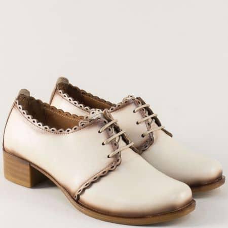 Дамски обувки на среден ток от бежова естествена кожа 174bj