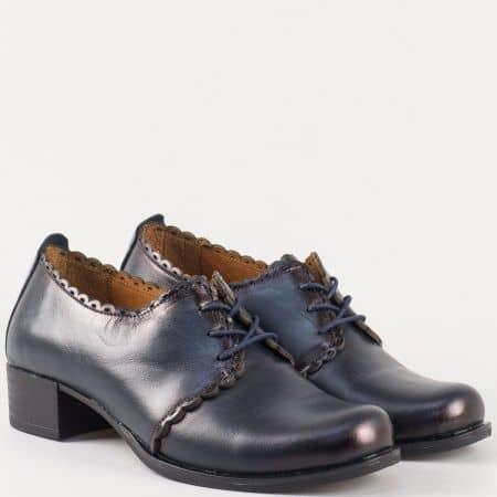Дамски тъмно сини обувки с връзки на среден ток от естествена кожа 174s