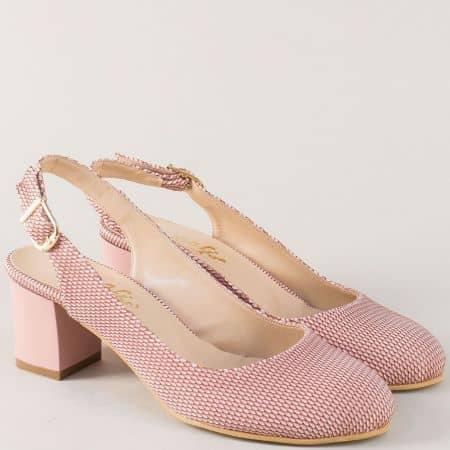 Розови дамски обувки с отворена пета на среден ток 1750rz