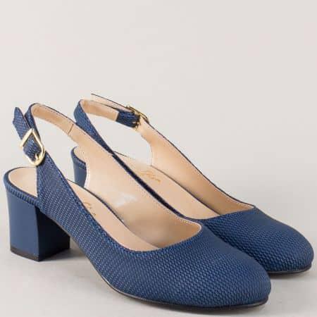 Дамски обувки с отворена пета в син цвят на среден ток 1750s