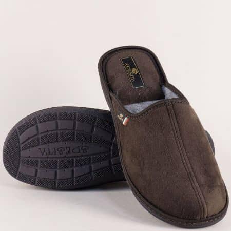 Бтлгарски мъжки пантофи Spesita в тъмно кафяв цвят 17783kk