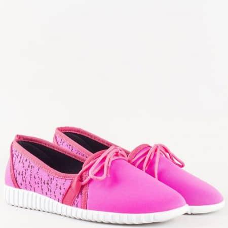 Дамски обувки в циклама с връзки и бяло ходило 180516ck