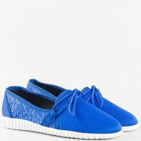 Пролетно летни дамски обувки в син цвят с връзки на бяло ходило 180516s