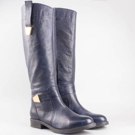 Дамски комфортни ботуши изработени от висококачествена естествена кожа на български производител в син цвят 1810s
