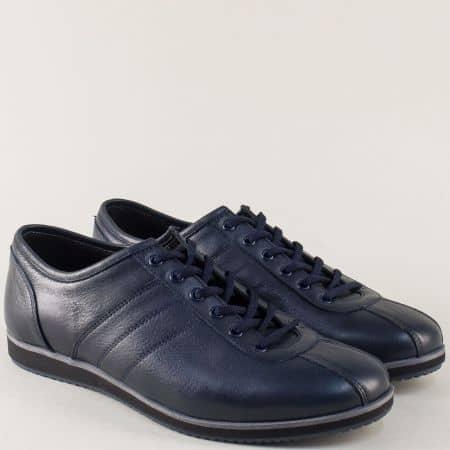 Тъмно сини мъжки обувки на равно ходило от естествена кожа 18202s