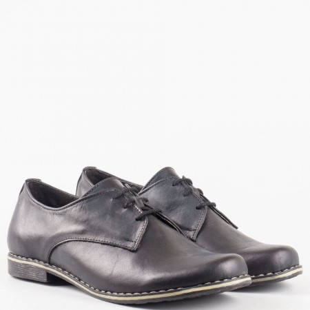 Стилни черни дамски обувки с връзки на комфортно ходило  18314004ch
