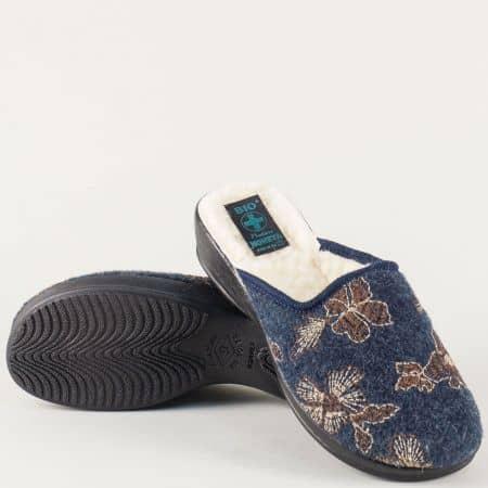 Сини домашни дамски чехли с хастар от вълна 18348s
