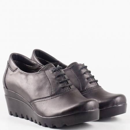 Качествени дамски ежедневни обувки с връзки на цяла платформа от 100% естествена кожа на български производител 18415431ch