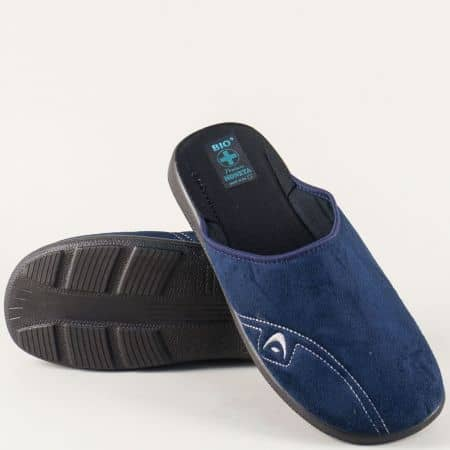 Домашни мъжки пантофи в син цвят 18480s