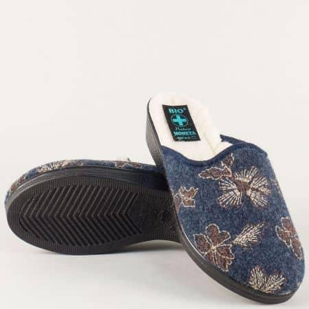 Дамски пантофи в синьо, кафяво и бежово с вълнен хастар 18504ts
