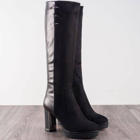 Стилни дамски ботуши на висок ток в черен цвят 186099ch