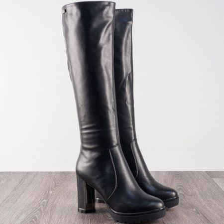 Дамски ботуши от черна еко кожа на висок стабилен ток 186529ch