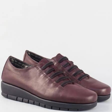 Кожени дамски обувки на платформа- Aerosoles в цвят бордо 190916bd