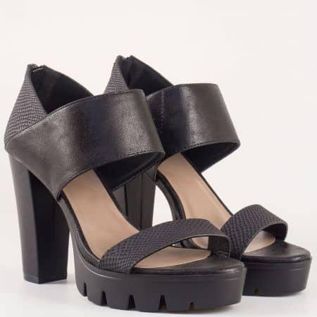 Дамски сандали със стилна визия на висок ток и платформа на Bull Boxer в черен цвят 192002ch