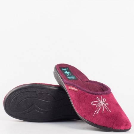 Дамски комфортни пантофи на корково ходило в цвят бордо 19266bd