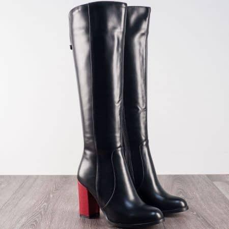 Черни дамски ботуши на висок ефектен ток в червено 196106ch