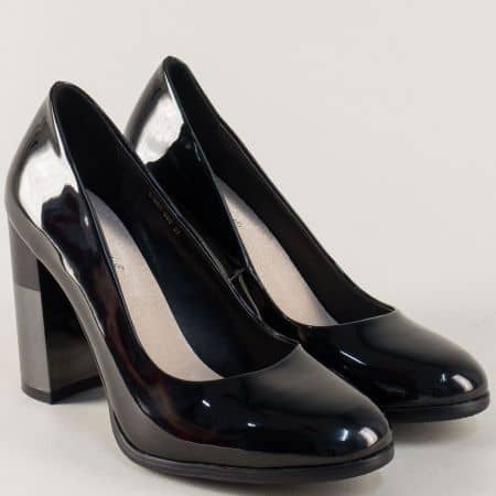 Елегантни дамски обувки на луксозен ток в черен цвят 196455lch