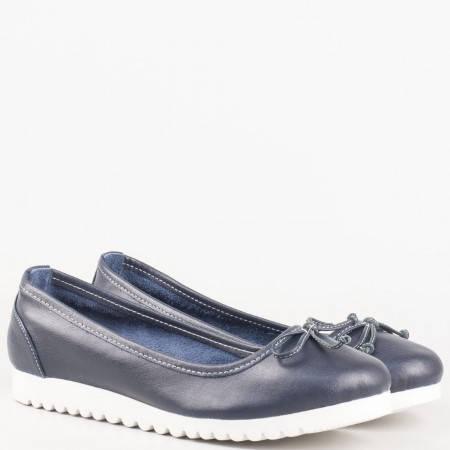 Равни дамски обувки в синьо за всеки ден с панделка от естествена кожа изцяло  2006s