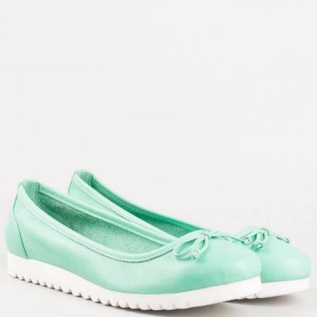 Ежедневни зелени дамски обувки с панделка от естествена кожа изцяло 2006z