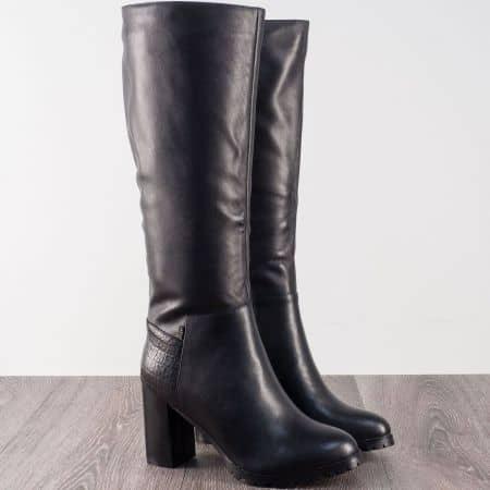 Черни дамски ботуши от естествена кожа на висок стабилен ток 20145918ch